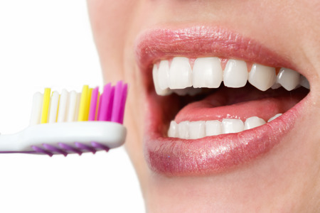 Healthy teeth with toothbrush