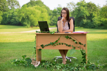 working desk: Office in the nature, young secretary working outdoor