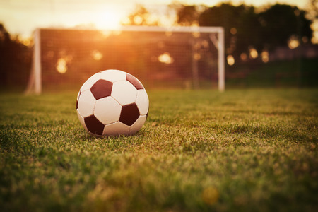 soccer sport: Soccer in the sunset Stock Photo