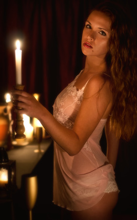 light hair: Women in candlelight Stock Photo