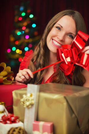 christmas presents: Girl with Christmas presents Stock Photo