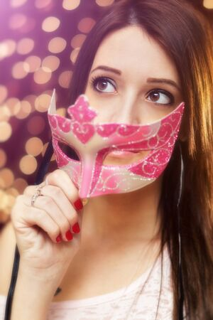 brown eyes: Beauty in the party with a venetian mask