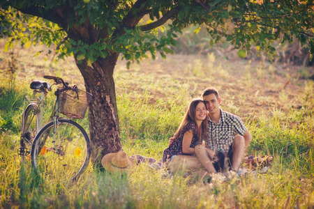 Attractive couple at countryside photo