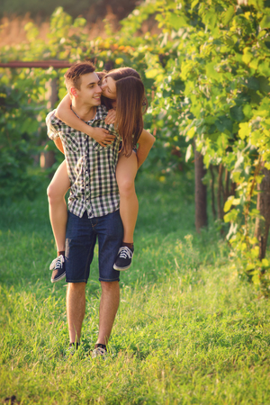 Attractive couple at countryside