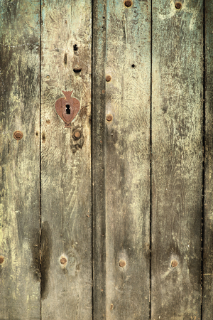 wood backgrounds: Old vintage wood cellar door with rusty keyhole