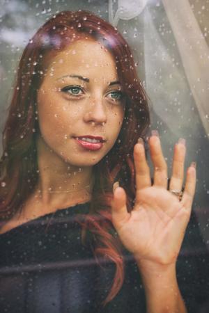 woman window: Rainy Day