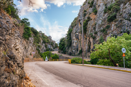 mountain pass: Road Across The Mountain Pass of of Poros in Cephalonia, Ionian