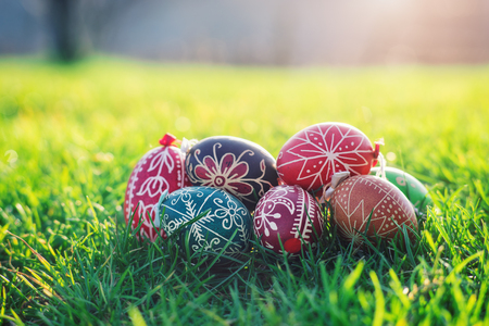 Outdoor photos from Easter eggs decorated with traditional patterns hungarian