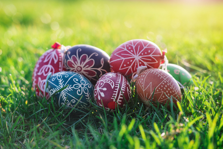 traditional: Outdoor photos from Easter eggs decorated with traditional patterns hungarian