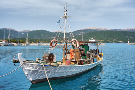 Old fishing boat in port of Sami, Kefalonia, Ionian Islands, Greece Stock Photo