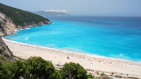 그리스, 이오니아 제도, 케팔 로니아의 Myrtos 해변에서 프리