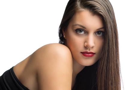 아름다운 여자 모델의 매력적인 초상화 스톡 콘텐츠