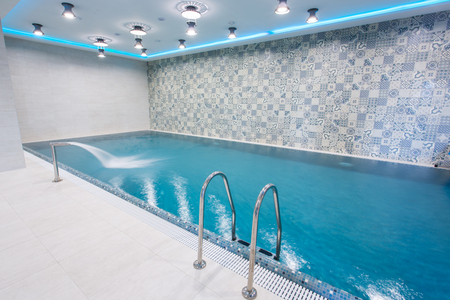 Big swimming pool in the wellness section 스톡 콘텐츠