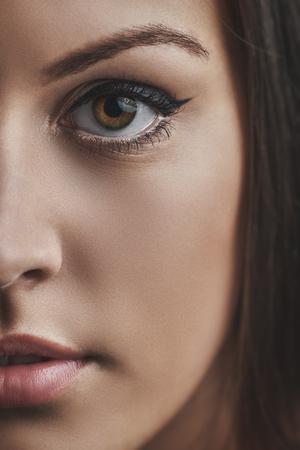 Closeup of a beautiful young woman half face
