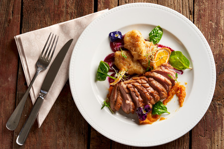 Ros? duck breast with hungarian potato dumplings, baked apple-beetroot cream and orange-pumpkin marmalade