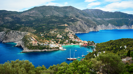 The harbor of Assos in Kefalonia, Ionian Islands, Greece