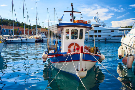 Small life-saver boat in Fiscardo Bay, Kefalonia, Ionian Islands, Greece