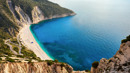 Myrtos beach in Keflaonia, Ionian Islands, Greece Archivio Fotografico