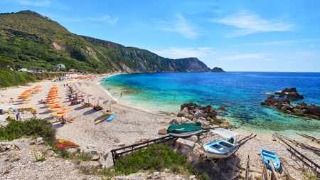 Panoramic photo from Petanoi beach in Kefalonia, Ionian Islands, Greece Archivio Fotografico