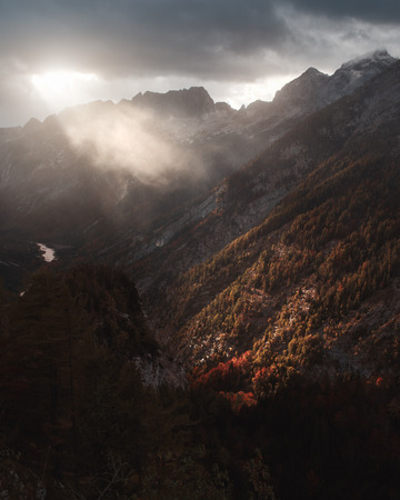 Sunrays over the highland of the Alps near Tarvisio, Italy