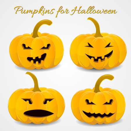 fun and scary pumpkins set for Halloween