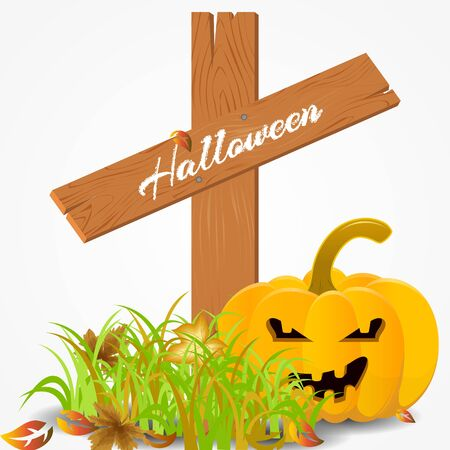 Halloween card with a pumpkin and leaves on a cemetery