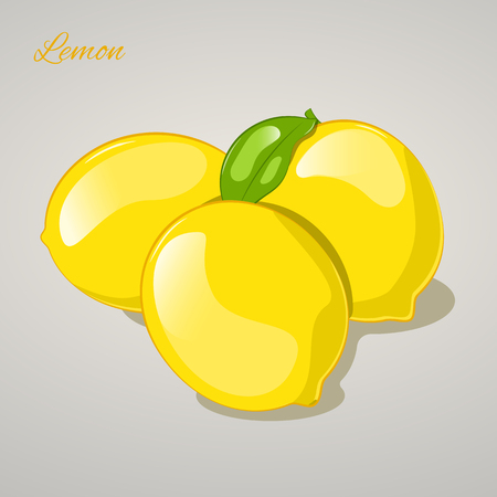 Cartoon sweet lemon on grey background. Vector Illustration. Fruits and vegetables collection.