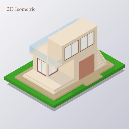 veranda: Isometric high tech cozy house isolated on blue background. Vector illustration. Illustration