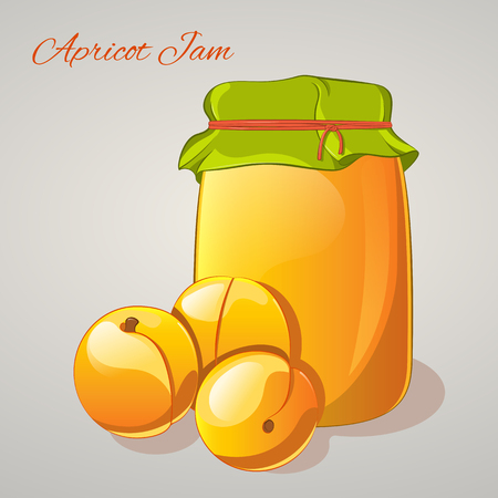 apricots: Apricot jam in a jar and fresh apricots isolated on grey background. Simple cartoon style. Vector illustration. Illustration