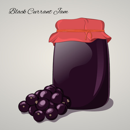 red currant: Black Currant jam in a jar and fresh black currant isolated on grey background. Simple cartoon style. Vector illustration. Illustration