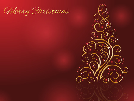 Christmas card with stylized golden Christmas tree. Vector illustration. New Year Collection.