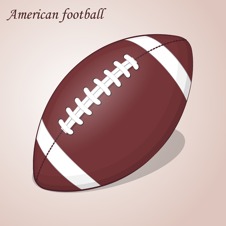 pumped: American Football ball isolated on a pink background. Simple cartoon style. Vector Illustration. Rugby sport.