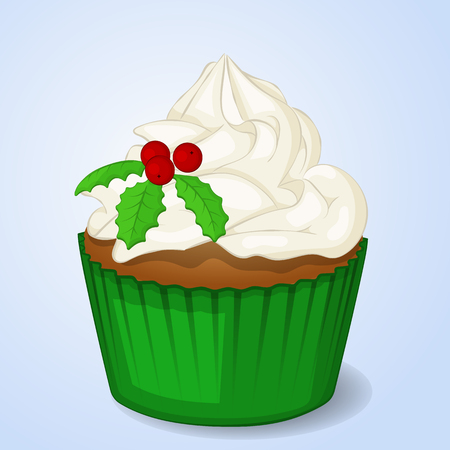 Sweet and delicious Christmas cupcake for New Year design. Simple cartoon style. Vector illustration. New Year Collection.