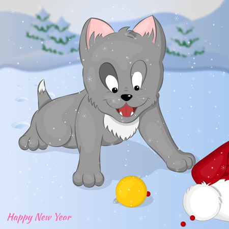 kitty: Funny and cute kitten found Santa Claus trail. Merry Christmas and Happy New year card. Christmas card in cartoon style. Vector illustration. New Year Collection. Illustration