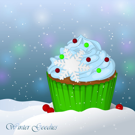 goodies: Sweet and delicious Christmas cupcake in snow. Winter Goodies. Simple cartoon style. Vector illustration. New Year Collection.