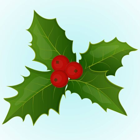 Christmas holly berry. Simple cartoon style. Vector illustration. New Year Collection.