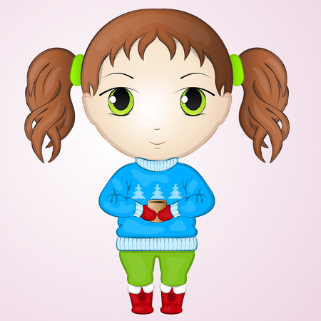 chibi: Cute anime chibi little girl wearing sweater and holding cup of warm tea. Simple cartoon style. Vector illustration. New Year Collection.