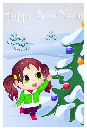 chibi: Cute anime chibi little girl trying to take candy. Merry Christmas and Happy New year greeting card. Christmas card in cartoon style. Vector illustration. New Year Collection. Illustration