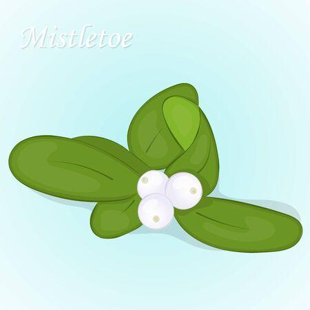 Christmas mistletoe berry. Simple cartoon style. Vector illustration. New Year Collection.