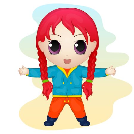 chibi: Cute anime chibi little girl. Simple cartoon style. Vector illustration. New Year Collection.