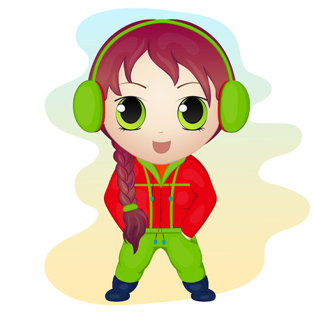 chibi: Cute anime chibi little girl wearing earmuffs. Simple cartoon style. Vector illustration. New Year Collection.