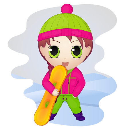 chibi: Cute anime chibi little girl with snowboard. Simple cartoon style. Vector illustration. New Year Collection.