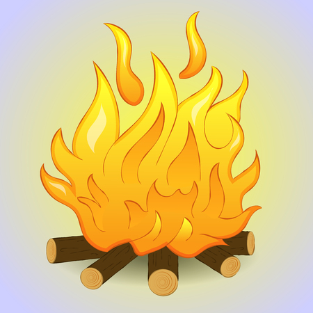 Bright bonfire isolated with wood and flame fire on grey background. Simple cartoon style. Vector illustration Illustration