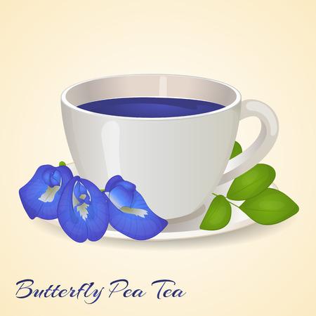 Tazza di tè blu con farfalla Pea fiori e foglie isolate su sfondo arancione. Tè blu di pisello. Clitoria Ternatea. Illustrazione vettoriale. Bevande sane.