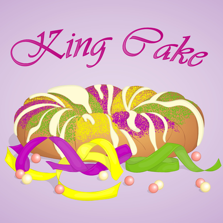 Traditional festive King Cake to celebrate Mardi Gras. Festive beads and ribbons surround the cake. Background for Fat Tuesday in cartoon style. Vector illustration. Holiday Collection.