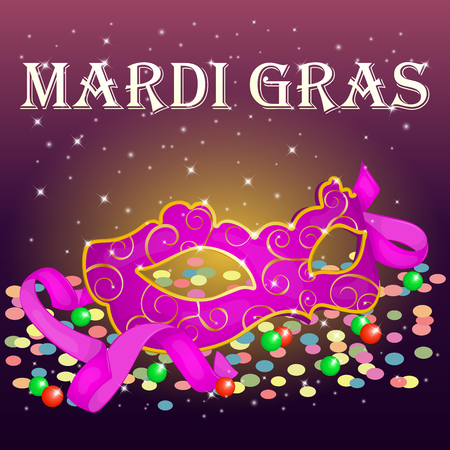 new orleans: Bright Mardi Gras Poster template with carnival mask, confetti and beads . Holiday poster or placard template in cartoon style. Vector illustration. Holiday Collection.