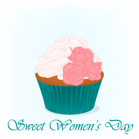 greeting cards International Women s Day: Yummy cupcake for International Womens day with roses flowers. Holiday background, poster or placard template in cartoon style. Vector illustration. Holiday Collection. Hình minh hoạ