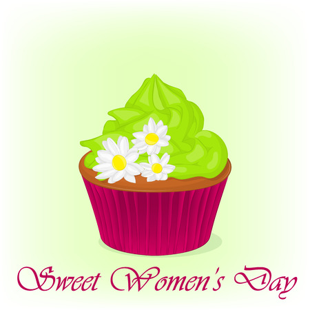greeting cards International Women s Day: Yummy cupcake for International Womens day with chamomiles flowers. Holiday background, poster or placard template in cartoon style. Vector illustration. Holiday Collection. Hình minh hoạ
