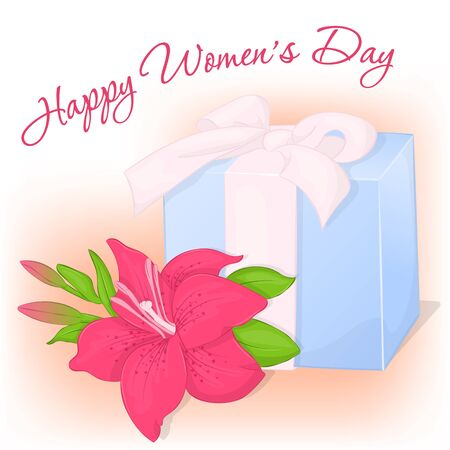 greeting cards International Women s Day: Happy International Womens Day greeting card with present and lily. Holiday background, poster or placard template in simple cartoon style. Vector illustration. Holiday Collection.