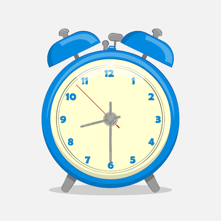 Classic blue alarm clock isolated on white  in simple cartoon style. Vector illustration. Holiday Collection.